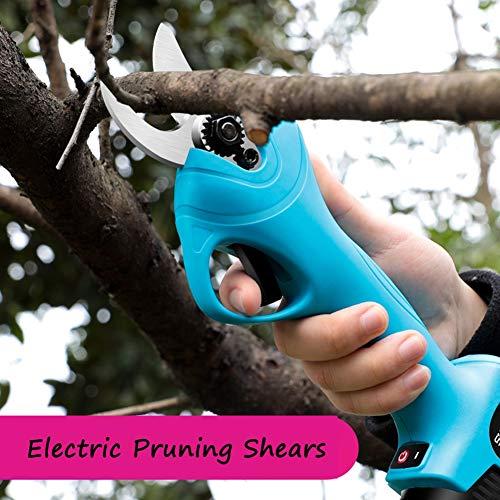 Sécateur Professionnel Sans Fil électrique,2 Pack Batterie au lithium rechargeable de 2000mAh, diamètre de coupe de 25 mm (0,98 pouce), pour arbre de ramassage de jardin, 6-8h de temps de travail