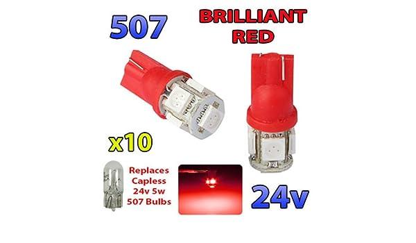 TAIL LIGHT BULB TRUCK LORRY BULBS 10 x 507 24V 5W CAPLESS WEDGE SIDE