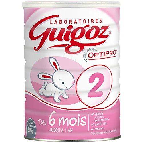 GUIGOZ 2 - Lait infantile 2ème âge en poudre - de 6 à 12 mois - 800g - Lot de 3 boîtes de 800g