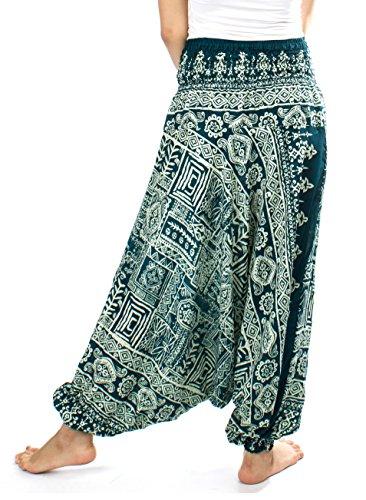 Lofbaz Damen Haremshose Jumpsuit mit Kordelzug Schöne gedruckt Funky Dunkelgrün