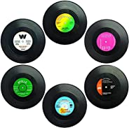 Funny retro vinyl record drink coaster, vinyl record player stand for music lovers,a set of 6 vinyl records Ra