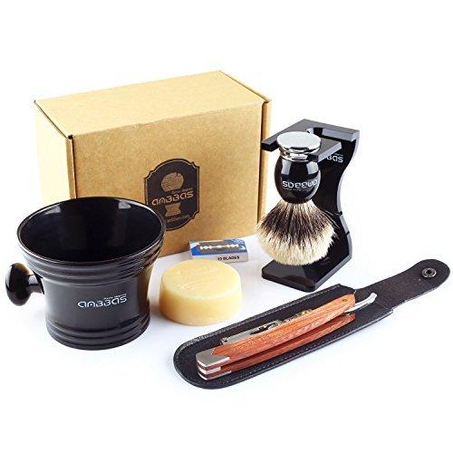 7in1 Rasierset Luxus Herren Geschenk Set, Anbbas Rasierpinsel Reines Dachshaar Silberspitz Shaving Brush Badger Rasiermesser und Ständer Rasurset für Die Klassische Nassrasur - Klassisches Rasierset