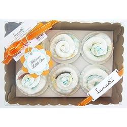 Caja de Cupcakes hechos con Pañales DODOT | Regalo Original para Recién Nacidos | Baby Shower Gift Idea | Obsequio para bautizo | Recuerdo para Invitados | Regalo para Bebé | Versión Azúl | Para Niños
