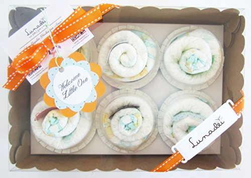 Regalo Originale per Neonato |Scatole di 6 Cupcakes fatti con Pannolini DODOT | Baby Shower Gift Idea | Regalo per Battesimo |Bomboniera per Cerimonia | Versione per Maschietti