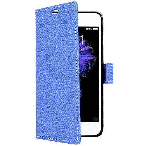 GrandEver für iPhone 6/iPhone 6S(4.7 Zoll) Ledertasche Hülle Schutzhülle Tasche Scratch Schale Umschlag Stil Wallet Flip Case Cover mit Weiche Silikon Backcover Leder Innere Standfunktion Kreditkarte  Blau