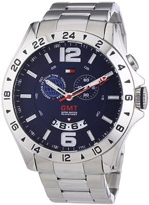 Tommy Hilfiger Baron - Reloj de cuarzo para hombre, correa de acero inoxidable color plateado