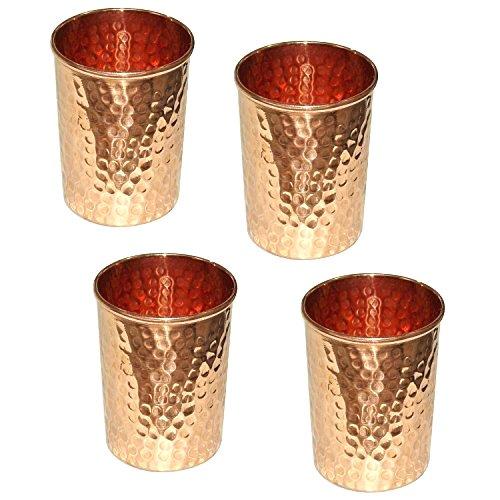 Satz von 4 - Prisha Indien Craft ® Kupferbecher Wasserglas - Handgemachte Wassergläser - Traveller's Kupfer Glaskrug für Ayurveda Leistungen - WEIHNACHTSGESCHENK LOS
