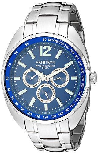 Armitron Men's Quartz Stainless Steel Dress Watch, Color:Silver-Toned (Model: 20/5296NVSV)