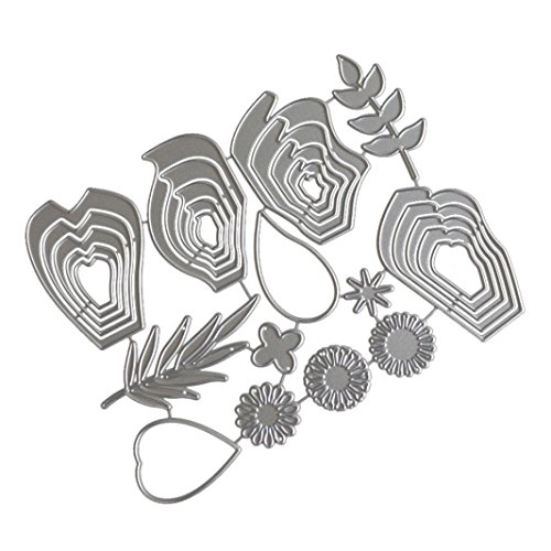 Y56 Silber Farbe DIY Handwerk Neue Blume Herz Metall Prägen Stanzschablone Prägeschablonen Embossing Machine Scrapbooking Stanzformen Schablonen Album Papierkarte Prägemaschine Paper Card Craft (F) (Stickerei-maschine-10x6)