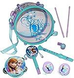 Unbekannt 9 TLG. Set: Musikinstrumente -  Disney die Eiskönigin - Frozen  - Kinderflöte + Trommel + Tamburin + Kastagnetten - aus Kunststoff für Kinder - Instrument /..