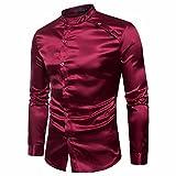 VEMOW Herbst Frühling Winter Herrenhemd Slim Fit Langarm Casual Tagesgeschäft Business Formale Taste Shirts Formale Mid-Season Top Bluse(Weinrot 2, EU-52/CN-L)