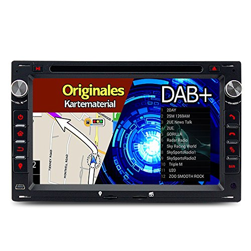 A-Sure 7 Zoll 2 Din DAB+ Autoradio Navi DVD GPS Bluetooth FM Radio RDS Für VW Golf 4 T4 T5 Passat B5 BORA Transporter MK4 MK5 POLO Sharan LUPO original Kartematerial (49 europäische Länder)W4W5AQ Mk4 Jetta-konsole