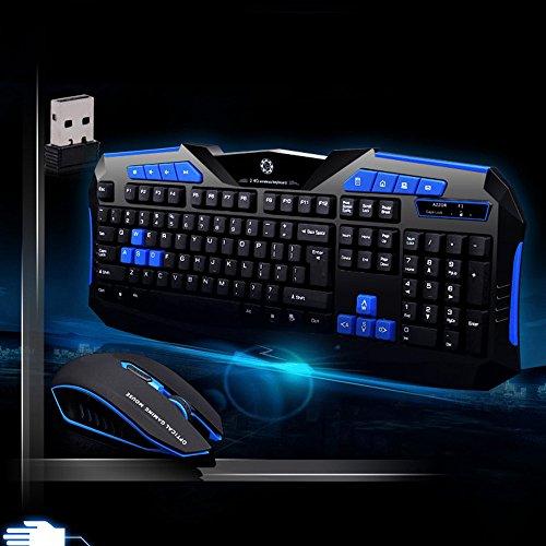 bingT Wireless Gaming Optoelektronisch Tastatur und Maus Set für PC Gamer,Wasserdichtes,112 Tasten Tastatur MIT automatischen Schlaffunktion Wird verwendet Ergonomisches Design 6Tasten Maus (Schwarz) (Wasserdichte Pc)