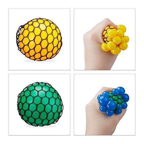 Relaxdays Quetschball im Netz, 12 Stück, Kinder & Erwachsene, Wutball zum Kneten, weich, Anti Stress, 6 cm, Stressball, 4 Farben