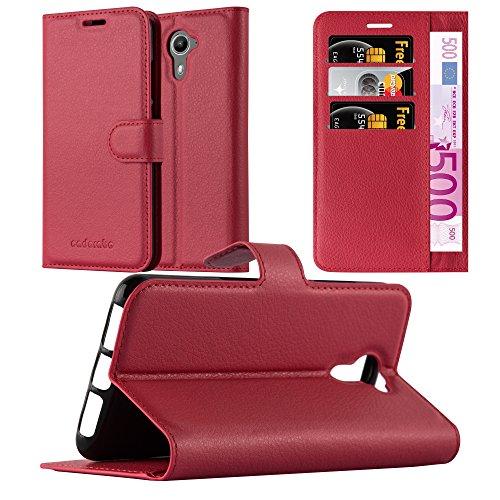 Cadorabo Hülle für Wiko U Feel Prime - Hülle in Karmin ROT – Handyhülle mit Kartenfach und Standfunktion - Case Cover Schutzhülle Etui Tasche Book Klapp Style