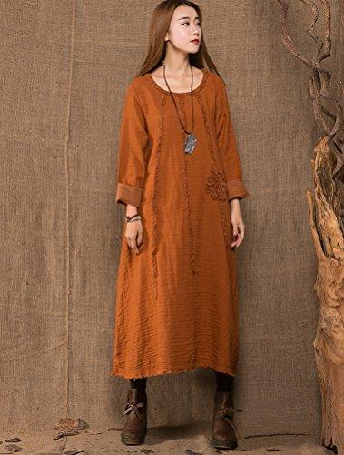 MatchLife Femme O-Cou Crochet Robe Orange