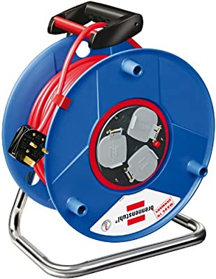 Brennenstuhl Garant Bretec 3-way socket cable reel (50m extension cable, ergonomic handle), drum with anti cable twist system, cable colour: red