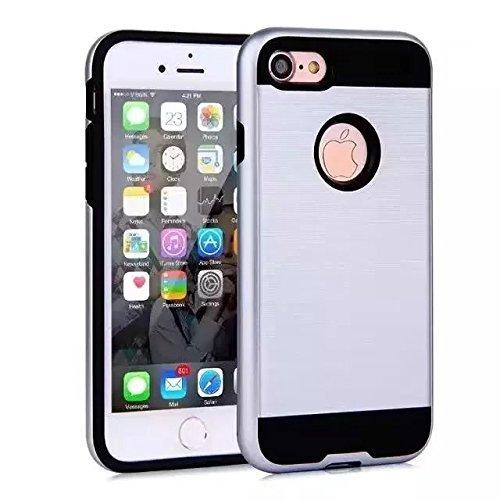 """iPhone Plus 7 Coque, Lantier robuste en métal brossé Design [PC souple TPU Bumper+dur] chocs résistant antichoc double couche Armure hybride Housse de protection pour iPhone 7 Plus 5.5"""" Bleu marin Silver"""