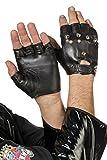 Jannes 32504 Leder-Handschuhe Punk Punker mit Nieten Lederimitat Kunstleder Gothic Rock Einheitsgröße Schwarz