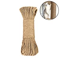 Amakunft Hemp Rope for Cat Tree and Tower, DIY Cat Scratcher Sisal Rope for Cat Scratching Post Tree Replacement, Playing Flexible Scratching Pad (0.25inch x 33ft)