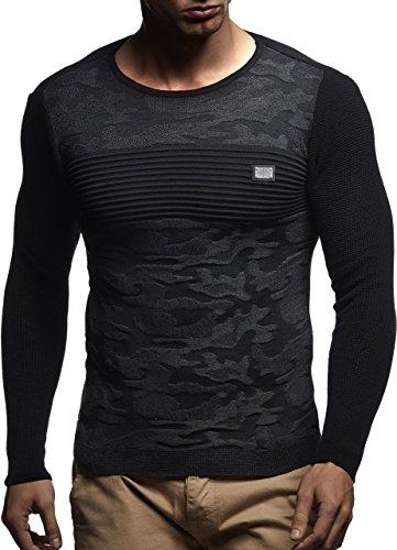 LEIF NELSON Herren Pullover Strickpullover Hoodie Basic Rundhals Crew Neck Sweatshirt longsleeve langarm Comouflage Sweater Feinstrick LN1645; Gr__e M, Schwarz