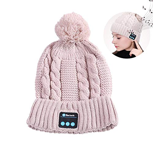 leegoal Mütze Bluetooth, HD Stereo Bluetooth 4.2 Smart Wireless Kopfhörern Musical Knit Cap mit Detachable Speakers & Mikrofon, Winter Outdoor Sport Music Beanie für Frauen Männer