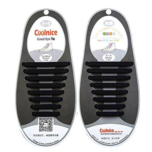 Newkeen No Tie Lacets pour les enfants et adultes - imperméables Silicon Flat élastiques Lacets de sport course de chaussures pour Shoes Sneaker Conseil Bottes et Souliers