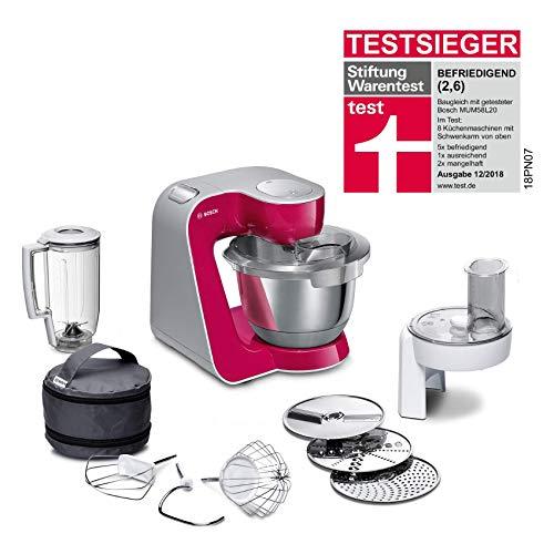 Bosch MUM5 CreationLine Küchenmaschine MUM58020, vielseitig einsetzbar, große Edelstahl-Schüssel (3,9l), Mixer, Durchlaufschnitzler, 1000 W, rot/silber
