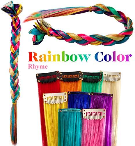 54d4564e25 Rhyme Clip di Estensioni per Capelli Colorate per Ragazze Accessori per  Capelli per Bambole Pezzi di Parrucca per Bambini 9PCS (Colore  dell'arcobaleno)