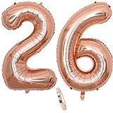 """2 Numero di Palloncini 26,Numero 26 Compleanno Decorazione Oro Rosa Ragazza,40"""" Palloncino a Foglio di Elio Gonfiabile,Happy Birthday Party Palloncino Gigante Prom Festa Party(XXXL 100cm)"""