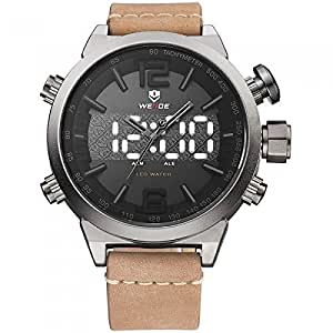 Weide Analog-digital LED display LIGHT BROWN GENUINE LEATHER Strap watch for men WH6101-4C