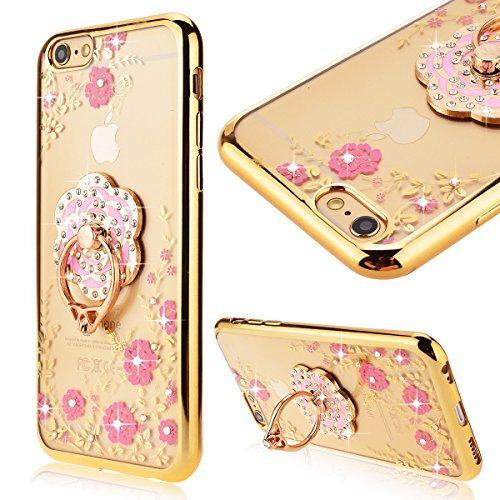 """GrandEver Coque Silicone pour iPhone 6 iPhone 6S (4.7"""") 3D Cœur Anneau Solide Couverture Transparent Cadre Placage Or Rose avec Diamant Fleur Rose Motif Etui Brillant Sparkling Protecteur Housse Soupl 3D fleur rose"""