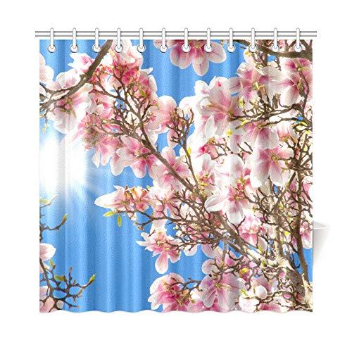 JOCHUAN Home Decor Bad Vorhang Kirschbaum Blüten Sakura Japanisch Rosa Floral Polyester Stoff Wasserdicht Duschvorhang Für Badezimmer, 72 X 72 Zoll Duschvorhänge Haken Enthalten -