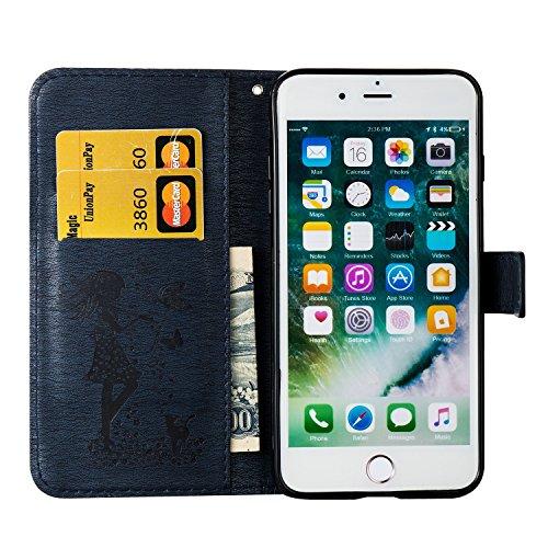 EKINHUI Case Cover Für Apple iPhone 7 Plus Fall Abdeckung, geprägtes Mädchen Muster Strass Premium TPU / PU Leder Geldbörse Flip Stand Case mit Halter & Lanyard & Card Slots ( Color : Blue ) Darkblue