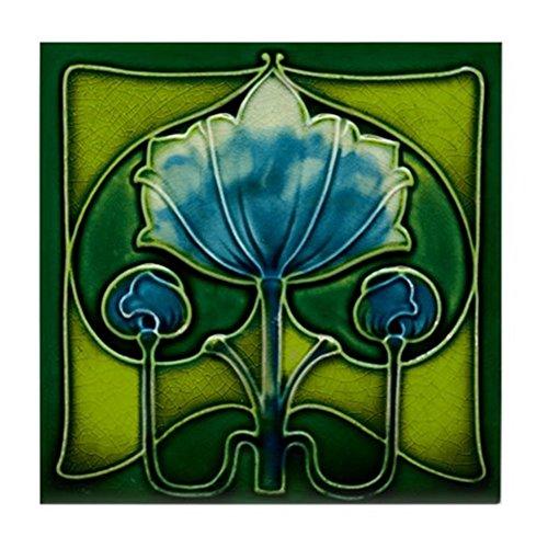 Art Nouveau CafePress 'Blue Flower Untersetzer Fliesen Standard Multi-color