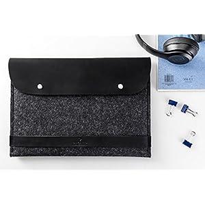 CitySheep MacBook Air 13 Zoll Retina Neues Modell 2018 Filz Tasche Leder Wollfilz & Echtleder Schutzhülle