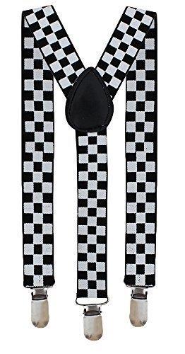 HOSENTRÄGER VERSTELLBAR HOSE STRAPSHALTER UNISEX KOSTÜM, - Black & White Checkered, Keine - Karierte Hose Kostüm