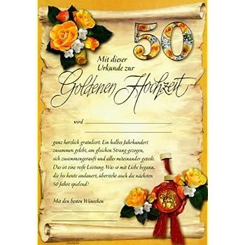 Riesen Goldhochzeit Urkunde Grußkarte Zur Goldenen Hochzeit 50 A4