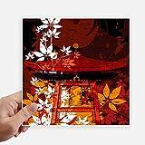 DIYthinker Japan Japanische Art-Blätter Pavillon Quadrataufkleber 20Cm Wand Koffer Laptop Motobike Aufkleber 4Pcs 20Cm X 20Cm Mehrfarbig