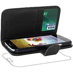 ebestStar - Compatible Coque Samsung S4 Galaxy i9500 i9505 Etui PU Cuir Housse Portefeuille Porte-Cartes Support Stand, Noir [Appareil: 136.6 x 69.8 x 7.9mm, 5.0'']