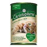 Christopherus Alleinfutter für Katzen, Nassfutter, Erwachsene Katze, Ente und Kaninchen, 6 x 400 g Dose