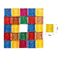 UW 10mm Glitter Mosaic Tile with Jar for Decoration on Balcony Desk, Photo Frames and Artcrafts (3/8 inch per Piece,568g/1.25lb)