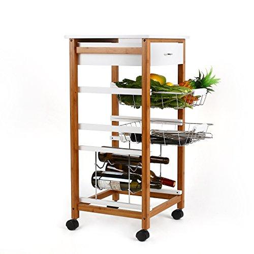 homfa servierwagen k chenwagen aus bambus aus kiefer k chentrolley beistellwagen k chenregal. Black Bedroom Furniture Sets. Home Design Ideas
