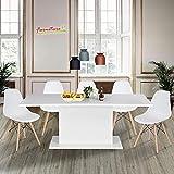 Tavolo in legno da cucina con prolunga, multifunzione, per interni, da 160 cm a 205cm di lunghezza, bianco