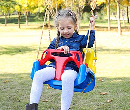 Huike Kinderschaukel Babyschaukel 3 in 1 Babysitz verstellbar Schaukelsitz Gartenschaukel für Baby und Kinder mit Rückenlehne und Anschnallgurt Freien Schaukel mit Höhenverstellbar Seil