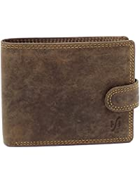 StarHide Men's RFID Blocking High Quality Brown Distressed Hunter Leather Notecase Wallet - Coins & ID Card Holder - 710 (Brown)(Size: 12cm x 9.5cm)