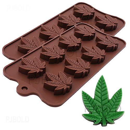 Marihuana Cannabis Hanfblatt Silikonformen für Topf Süßigkeiten Schokolade Gummy Gummies 2 Stück -