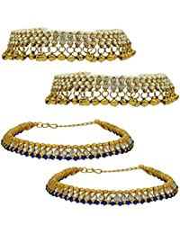 High Trendz Combo Of Two Bollywood Style Ethnic Gold Plated Anklets With Ghungroos, Cz Stones And Kundan Studded... - B06XJ23BP3