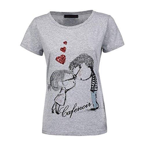 T-shirt con stampa personaggi CafèNoir - Colore Grigio Melange (M, Grigio)