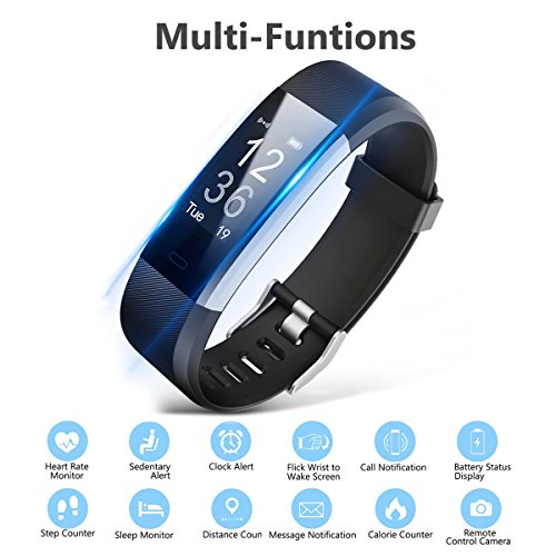 Fitness Tracker Bracelet EletecPro Sport Waterproof Fitness Bracelet With OLED Screen For Heart Rate Monitor Pedometer Bluetooth 40 Smart Watch With Call SMS Fits Android Smartphones